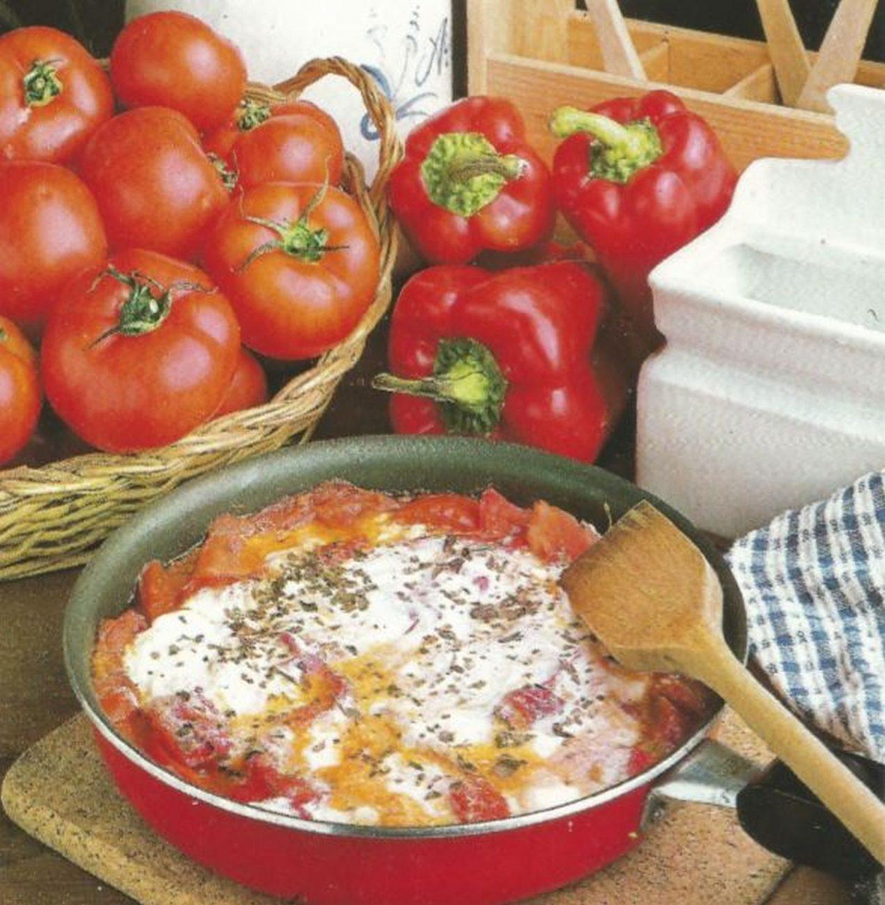 Tomates asados con pimientos